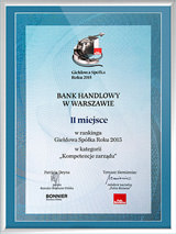 COMPETENCE OF CITI HANDLOWY MANAGEMENT BOARD TOP RATED AMONG BANKS LISTED ON THE WSE